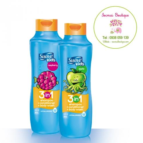 Dầu tắm, gội và xả cho bé Suave Kids 3 in 1 (665ml)
